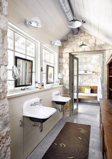 Sinks: Bathroom Design, Modern Bathroom, Stones Wall, Rustic Bathroom, Bathroom Sinks, Bathroom Ideas, Bathroom Window, Stones Bathroom, Design Bathroom
