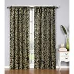 Window Elements Semi-Opaque Dawson Shimmering Leaf 54 in. W x 84 in. L Rod Pocket Extra Wide Curtain Panel in Black