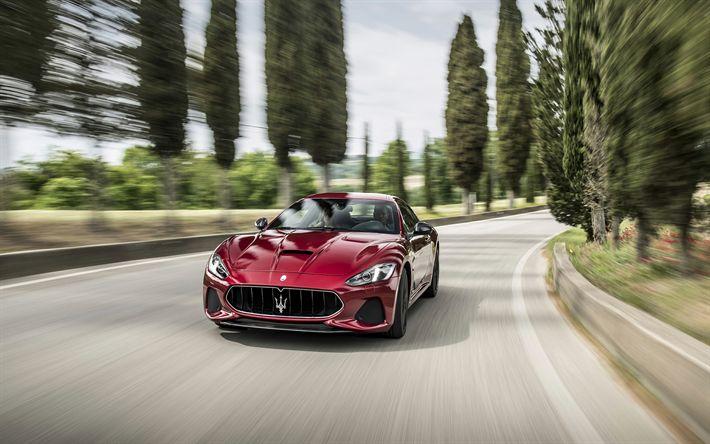 Descargar fondos de pantalla Maserati GranTurismo MC, 2018, estiramiento facial, Cabriolet, la carretera, la velocidad, los autos italianos, Maserati