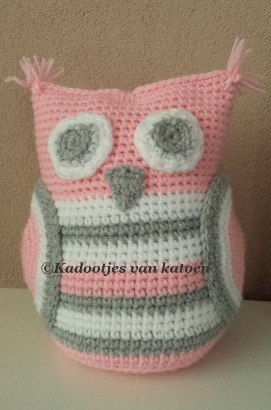 Crocheted door stopper owl Gehaakte deurstopper uil
