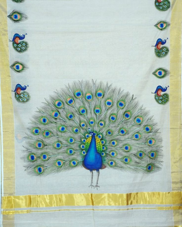 Peacock mural pinterest peacocks for Aithihya mural painting fabrics