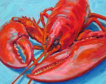 Lobsters Lobster Art Giclee Print 19x13 by betsymclellanstudio