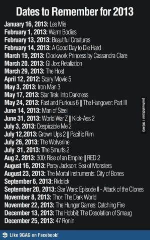 March may3rd ... June 14... July 3rd.... August 16th...November and December 13th