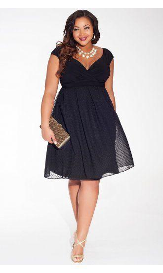 Adelle Plus Size Dress in Noir Dot by Igigi