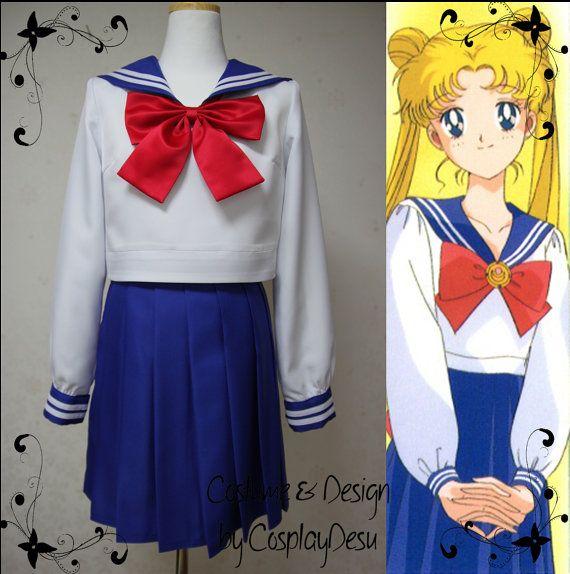Sailor moon blue school uniform cosplay outfit for Usagi Tsukino (Sailor moon) and Ami Mizuno (Sailor Mercury) on Etsy, $145.00