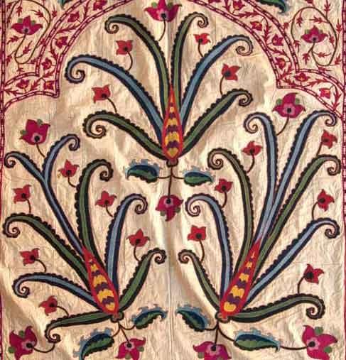 uzbek suzani detail, 19th c. silk embroidery, Central Asia. Uzbekistan.