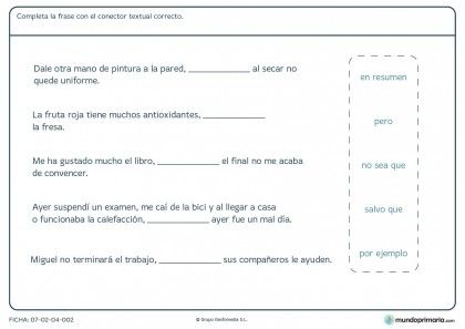 Ficha de nexo textual para primaria