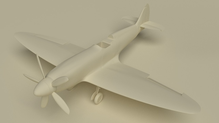 A clay render of the Spitfire project I am building. The geometry of the mesh is not perfect but will do for now.