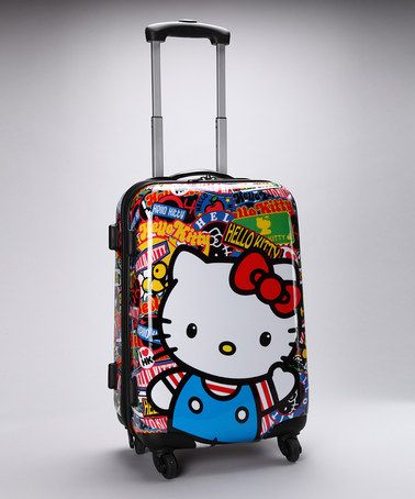 I know 1 little person who would LOVE this. Hello Kitty Sticker Print Rolling Luggage on #zulily today!