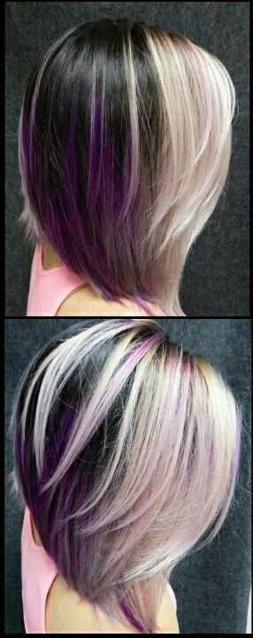 Blonde purple dyed hair color @alix_maya