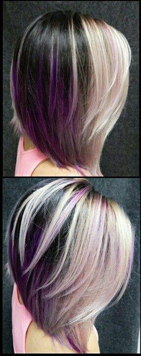 Blonde purple dyed hair color @alix_maya