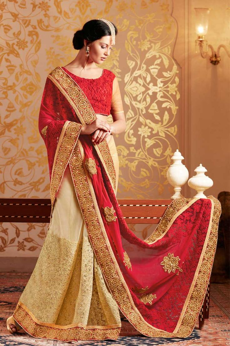 Cream and maroon #Georgette #Saree With #Net Blouse  http://www.andaazfashion.fr/womens/sarees/cream-and-maroon-georgette-saree-with-net-blouse-dmv8444-23820.html