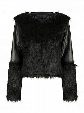 Black PU Panel Short Faux Fur Coat