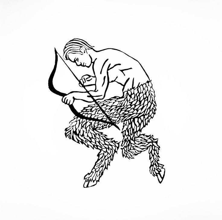 Satyr: lino print