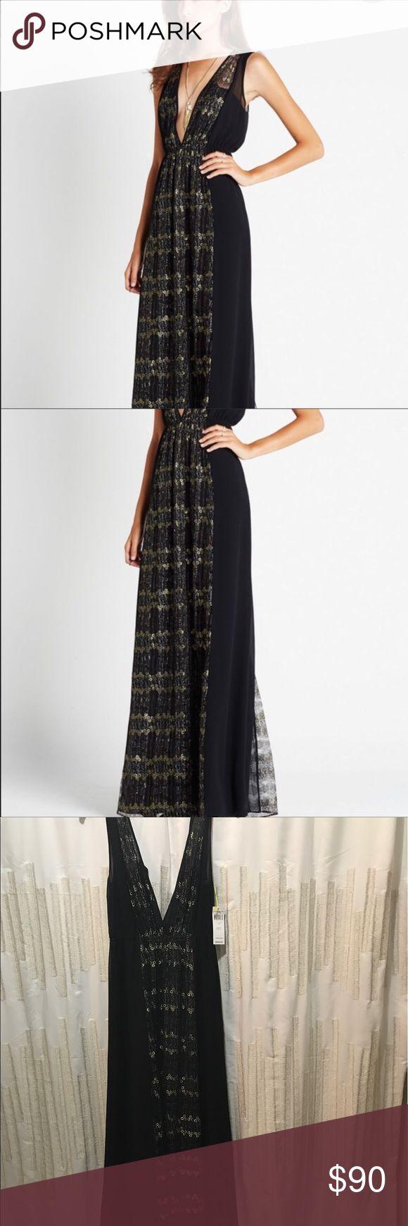 Black and gold chevron maxi dress