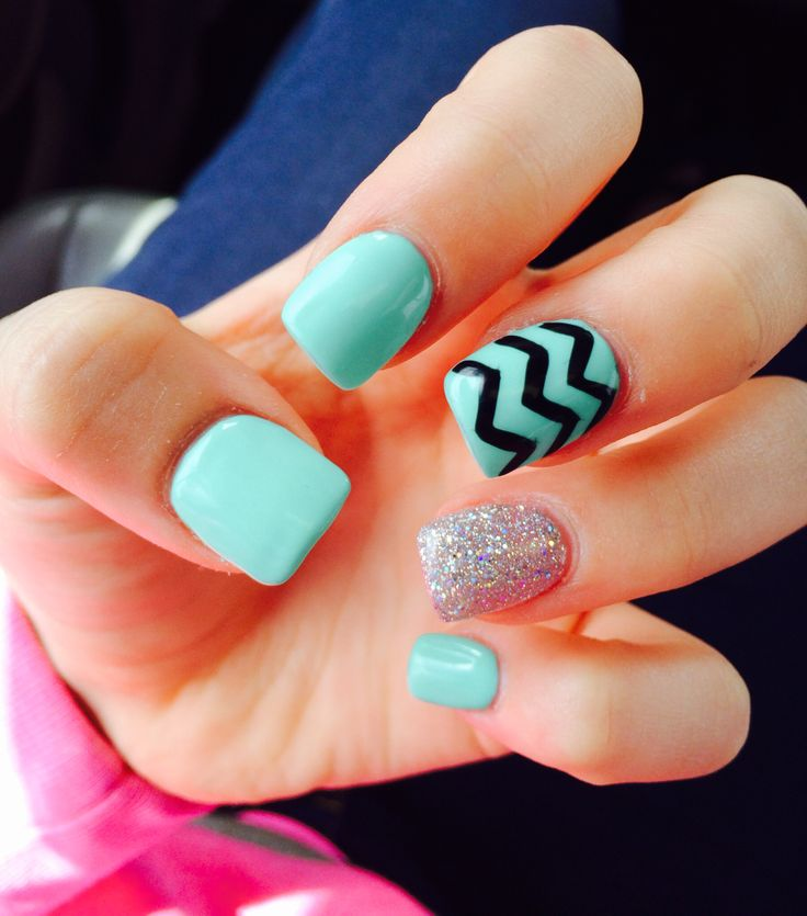 Turquoise Acrylic Nails  Chevron Black Middle Finger Glittery Ring Finger  Turquoise Base