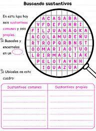 Resultado de imagen de actividades para trabajar los sustantivos comunes y propios
