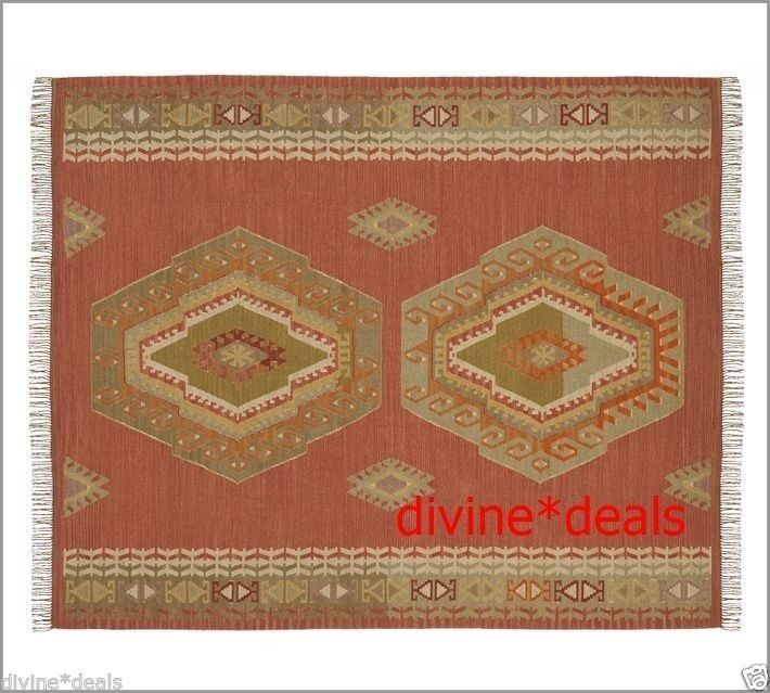POTTERY BARN Diamond KILIM RUG 8 X 10 NEW Retail $599.00 Last New One  Anywhere