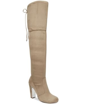 Material Girl Priyanka Over-the-Knee Stretch Boots, Only at Macy's - Gray 8.5M