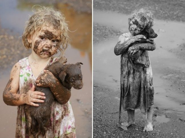 A little girl rescued a puppy from the mud. Kindness begins in childhood