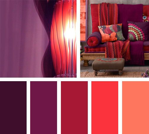 Una mezcla de morados y rojos forman esta paleta de colores boho.  Espacio vía: dar-amina
