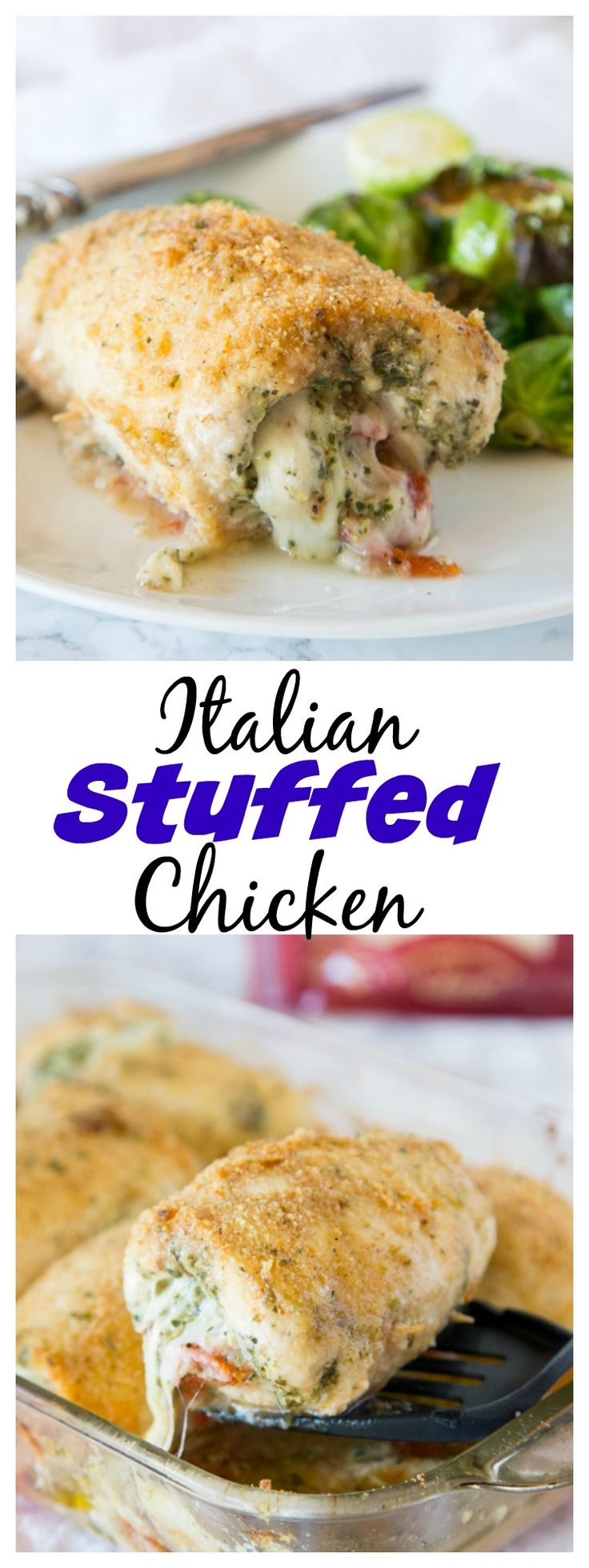 Italian Stuffed Chicken – chicken breasts rolled up with pesto, tomatoes, and cheese!  Then baked until crispy and delicious, a great family dinner.