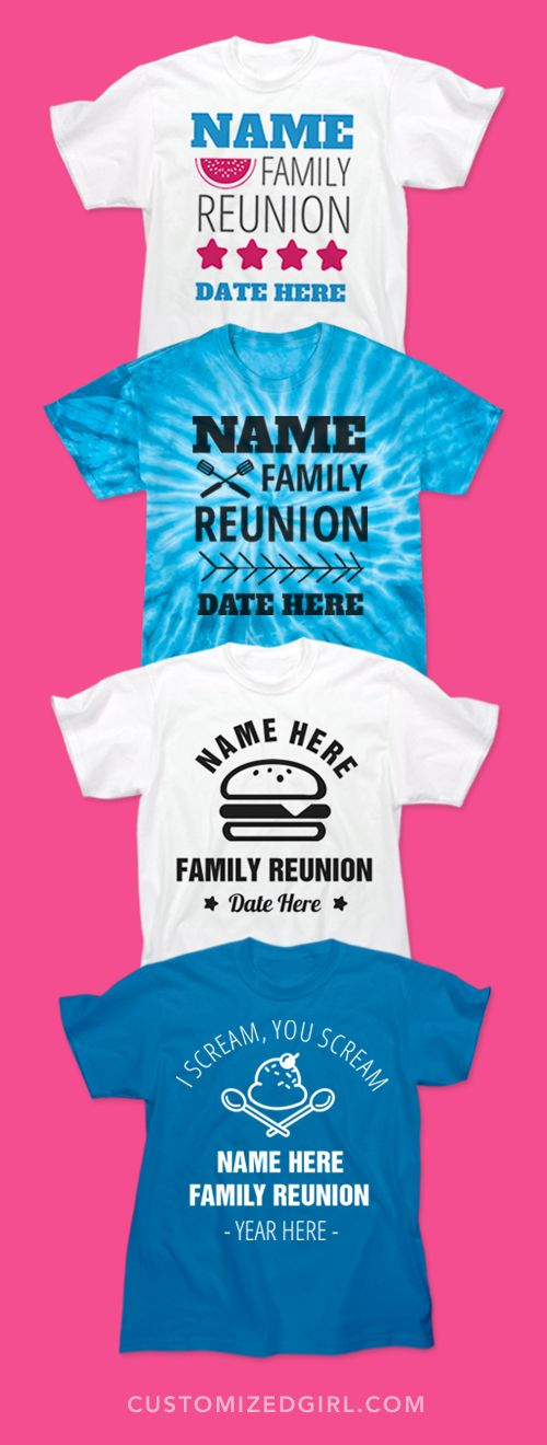 July is family reunion month! Customize shirts for the whole family with our group discounts and no minimums! #familyreunionshirts 