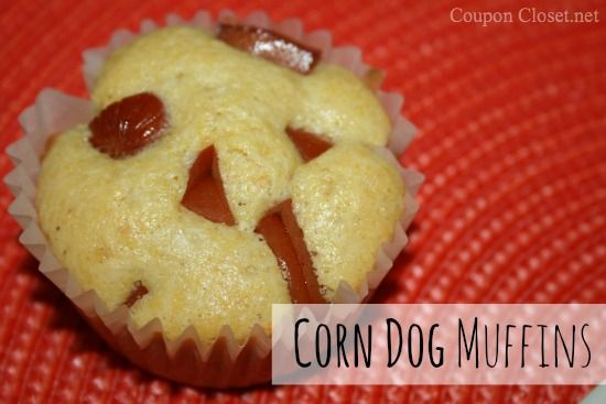 Corn dog muffins, be a fun lunch for the kiddo to take to school!