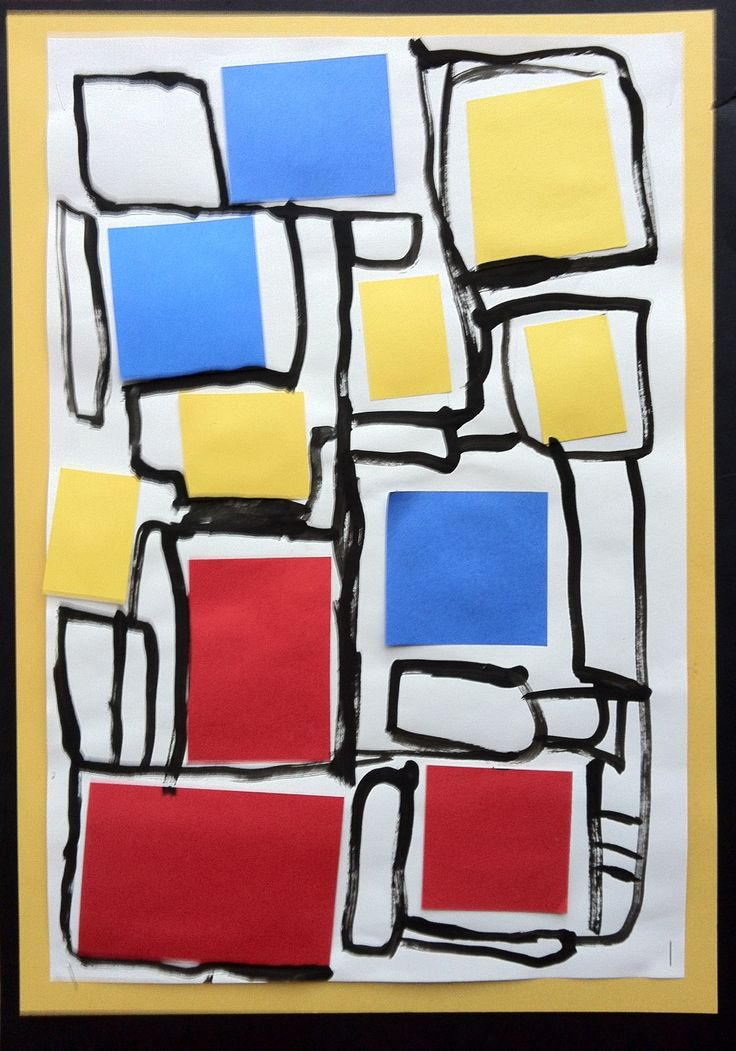 "Kindergarten Mondrian. Good early beginning lesson on primary colors before they are ready for mixing ( sometimes I throw in one random off color to see what they pick and where they put it) week 2 we use small brush and draw a "" road "" around our primary shapes. Good lesson for cart when you want to paint with minimal mess."