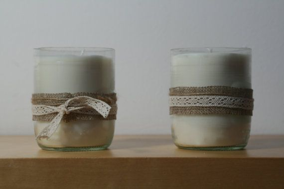 Set of 2 Dairy Candles, Burlap and Lace Belted Upcycled Milk Bottle Eco Soy Wax Candles with Zinc Free Wick