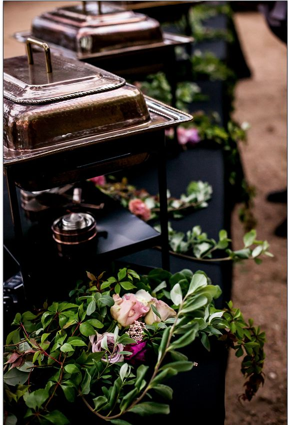 Using my copper chafing dishes and adding a floral really dresses up a buffet