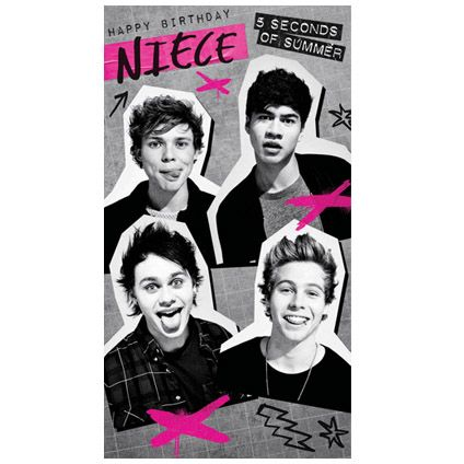 NEW Official #5SOS Niece Birthday Card available direct from Publisher with Free UK Delivery at https://www.danilo.com/Shop/Cards-and-Wrap/5SOS-Cards