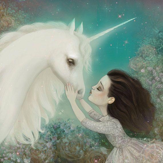 The+Unicorn+Kiss++Unicorn+art+unicorn+dream+archival+por+Meluseena,+$20.00