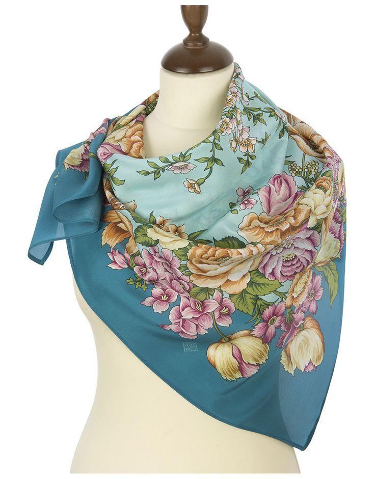 Silk shawl ''Flowers for the Darling'' | RusClothing.com  #silk #floral #pattern #scarf #kerchief #headscarf #shawl #blue