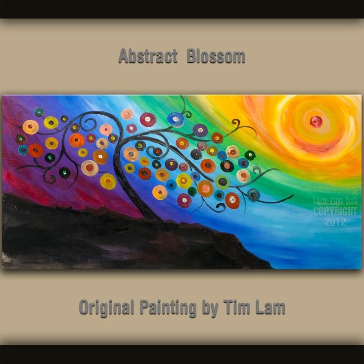 Original large surreal painting Fancy Blossom tree art Impasto  acrylic texture sunset landscape painting