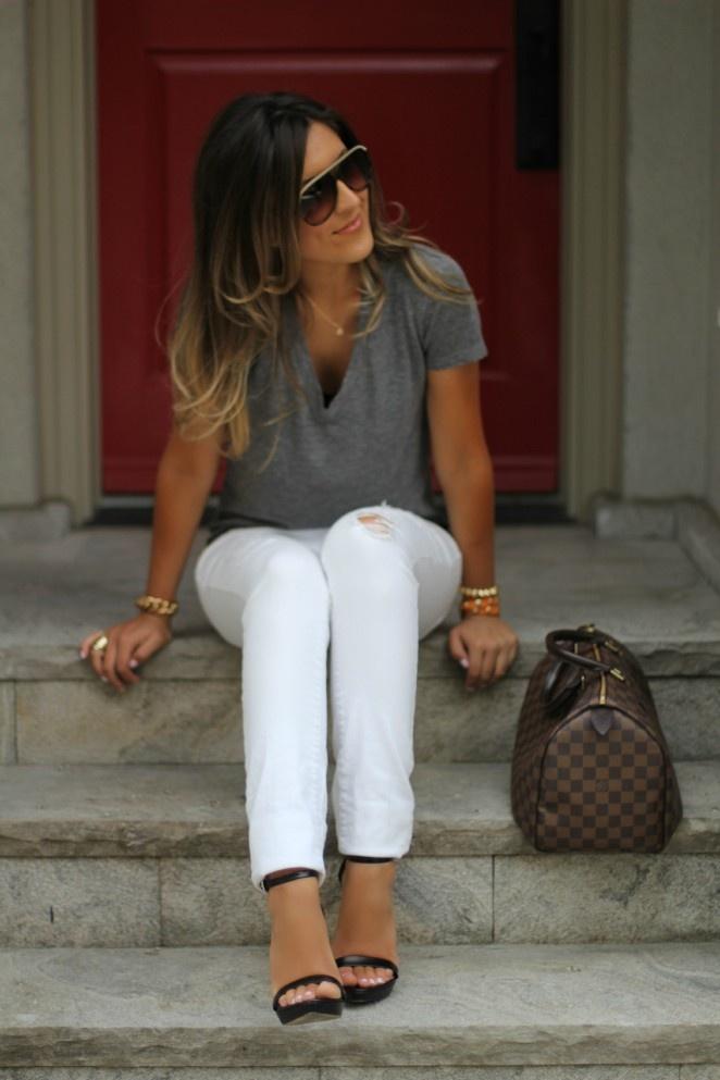 Gray v-neck t-shirt & white denim.