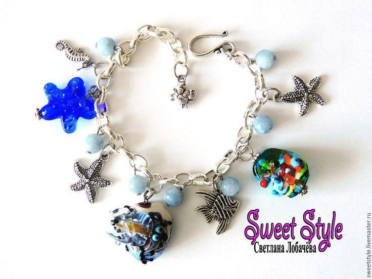 """Купить Браслет """"Морское чудо"""" с бусинами лэмпворк. - лэмпворк, комбинированный, браслет, браслет с подвесками"""