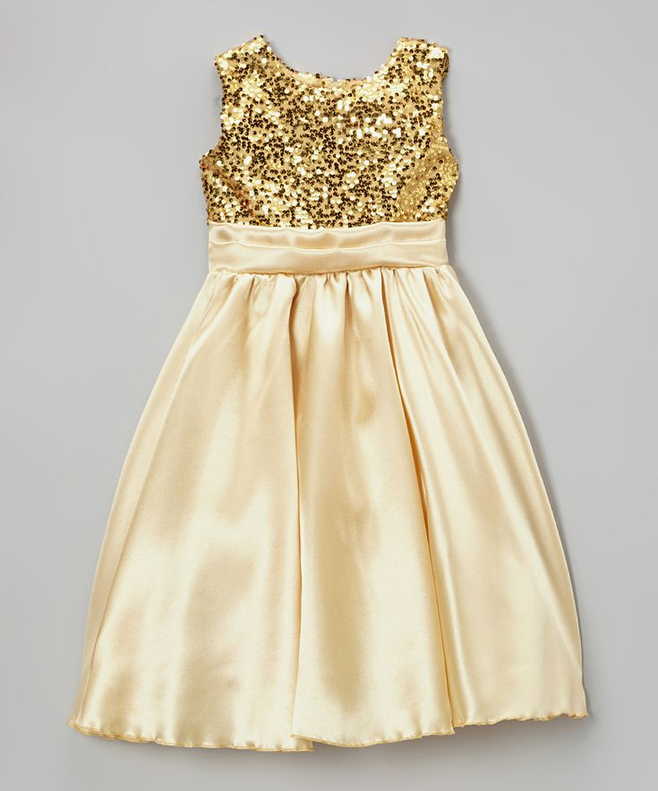 Gold Sequin Satin Dress - Infant, Toddler & Girls | zulily