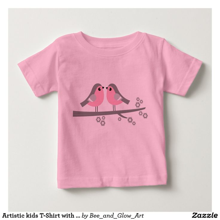 Artistic kids T-Shirt with handdrawn classic Birds