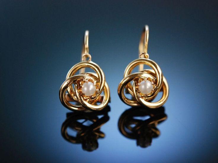 Charming antique earrings! Paar Ohrringe Gold 333 München um 1900, Antikschmuck bei Die Halsbandaffaire