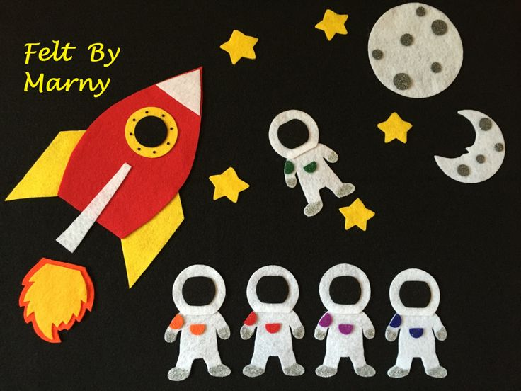 Five little astronauts felt board story song space for Space flannel