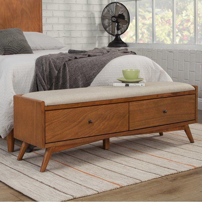 Somerton Upholstered Drawer Storage Bench With Images Wood Storage Bench Storage Bench Bedroom Bedroom Storage