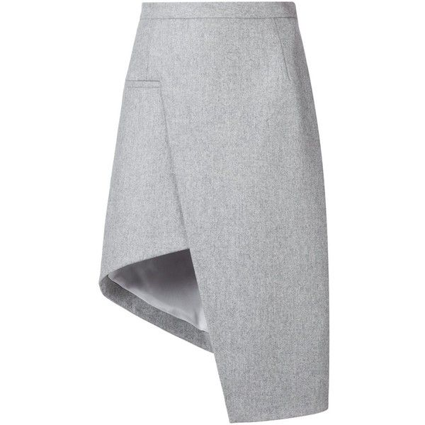 Mugler Asymmetric a-Line Skirt ($1,008) ❤ liked on Polyvore featuring skirts, grey, asymmetrical skirt, gray a line skirt, gray skirt, gray wool skirt and thierry mugler
