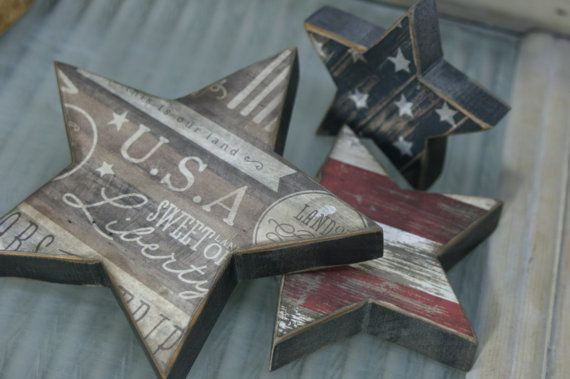Americana Star Trio by primitiveseason on Etsy