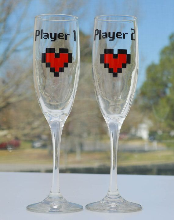 Player 1 Player 2 Champagne Glass Set  by AnchorAvenueDesigns