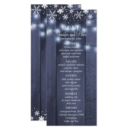 Winter snowflakes and lights barn wood menu card - winter wedding diy marriage customize personalize couple idea individuel