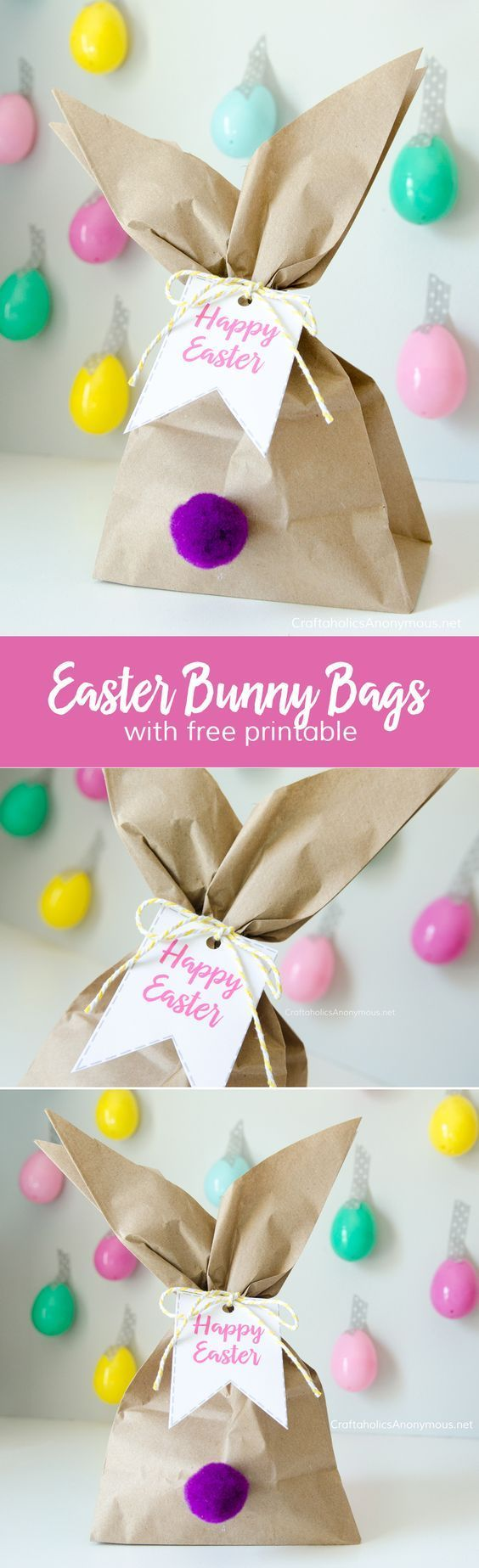 Easy Easter Bunny Gift Bags idea || Make great favors, gifts, decor, etc. Love the easter egg + washi tape backdrop!