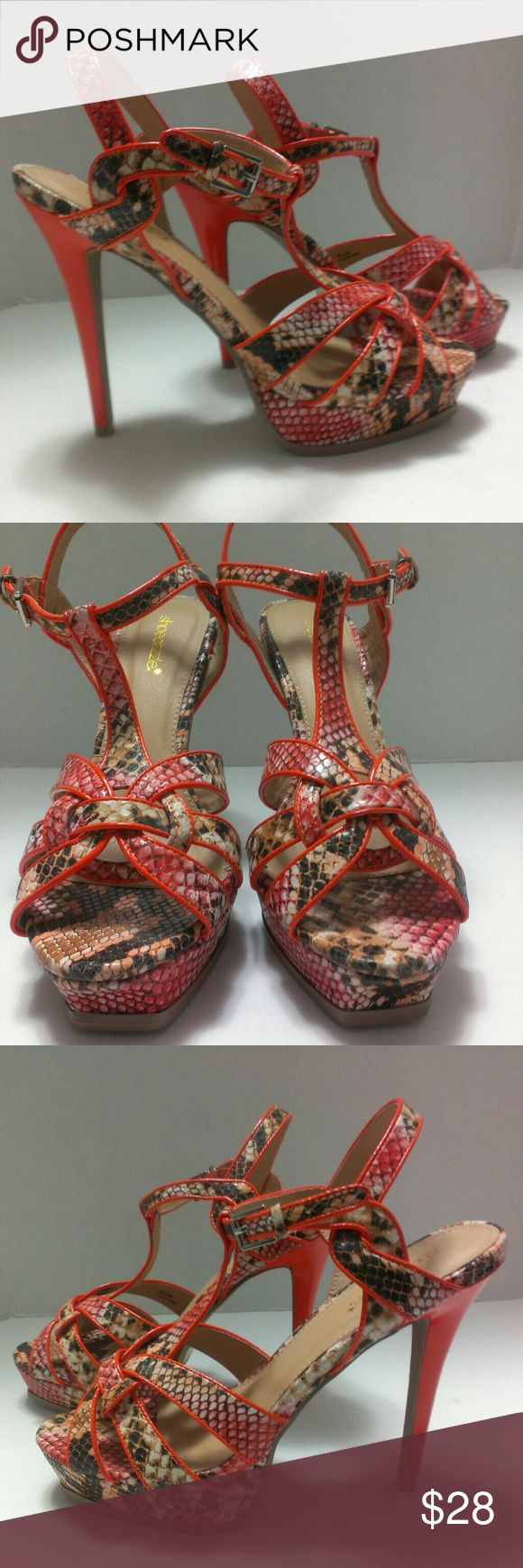 Shoe Dazzle Animal Print High Heeled Sandals Sz 11 These adorable sandals are in like new condition.    My home a smoke-free and pet-free.  Check out the other items in my closet to bundle for your discount.  I consider all offers.  Happy POSHING! Shoe Dazzle Shoes Heels
