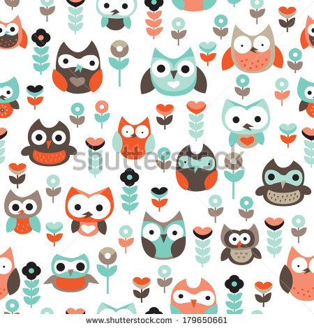 Seamless vintage little owls background pattern pastels illustration for boys in vector
