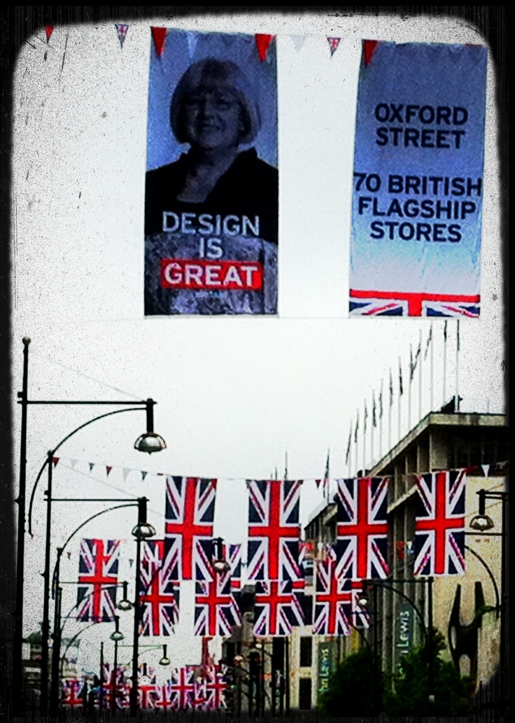 Oxford Circus, John Lewis and flags for Queen's Jubilee